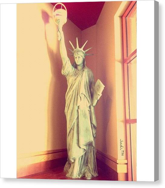 Quirky Canvas Print - Lady Liberty With A Burger Torch!! Lol! by Judi Lacanlale