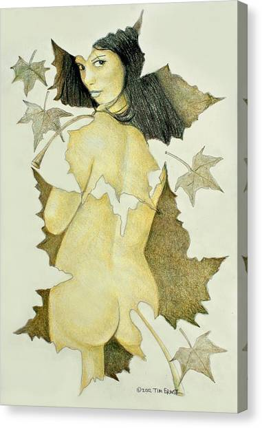Lady Of The Leaf 4 Canvas Print