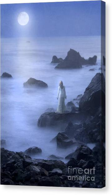 Night Gown Canvas Print - Lady On Rocky Seashore In The Moonlight by Jill Battaglia