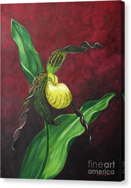 Canvas Print featuring the painting Lady Slipper by Dwayne Glapion