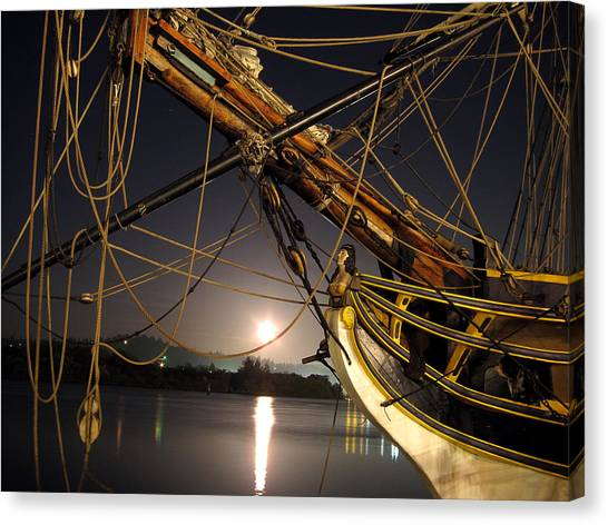 Lady Washington - Moonlight On Coos Bay Canvas Print by Gary Rifkin