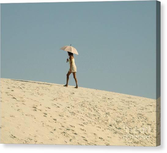 Lady With Umbrella On Sand Dune Canvas Print by Patricia Januszkiewicz