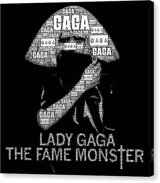 Fame Canvas Print - #ladygaga #black #text #darkness #music by Dean Ferris