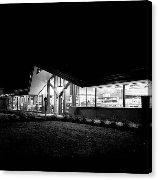 Libraries Canvas Print - #lake #geneva #library At #night by Aran Ackley