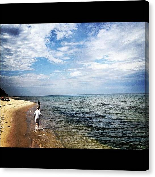 Swimming Canvas Print - Lake Michigan Shoreline #2 by Rex Pennington