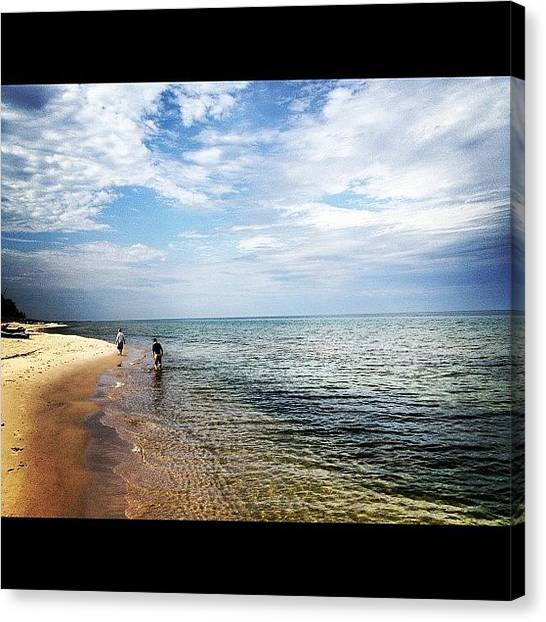 Swimming Canvas Print - Lake Michigan Shoreline by Rex Pennington