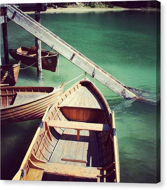 Green Canvas Print - Lake Of Braies - Alto Adige by Luisa Azzolini