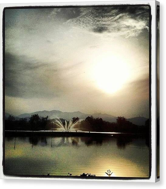 Lake Sunrises Canvas Print - #lake #sunrise #amazing #view #fountain by Inakamir Inakamir