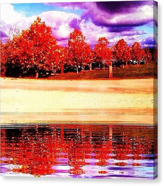 Winery Canvas Print - #lake #trees #autumn #cloudy #clouds by Koffee Kottage