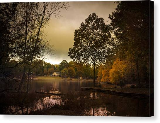 Lakefront Evening Canvas Print by Barry Jones