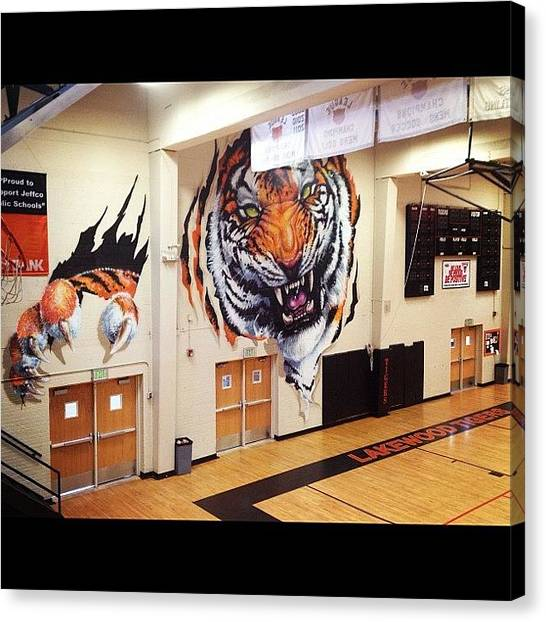 Gym Canvas Print - Lakewood Tigers Gym by Wolf Stumpf