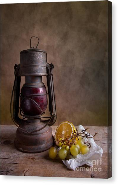 Medieval Canvas Print - Lamp And Fruits by Nailia Schwarz