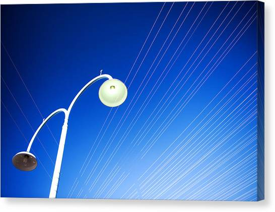 Canvas Print featuring the photograph Lamp Post And Cables by Yew Kwang
