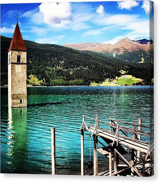 Italy Canvas Print - #landscape #lake #church #resia by Luisa Azzolini