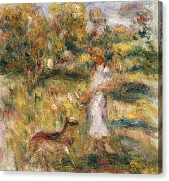 Pierre-auguste Renoir Canvas Print - Landscape With A Woman In Blue by Pierre Auguste Renoir
