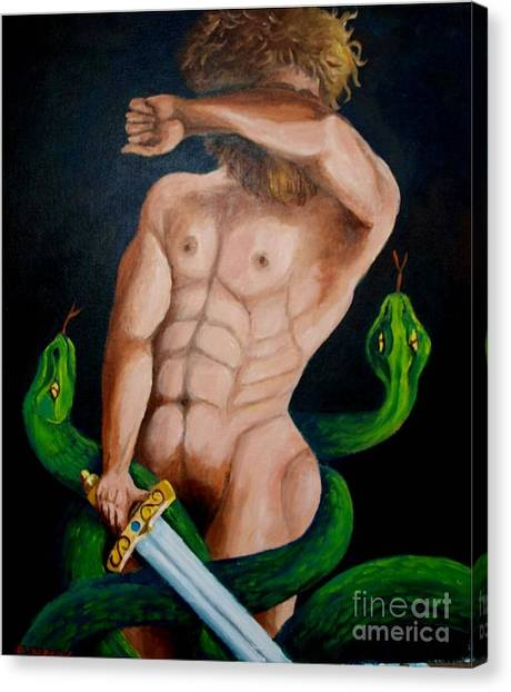 Laocoon And The Two Snakes Canvas Print