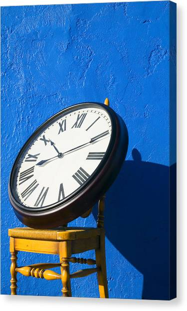 Clock Canvas Print - Large Clock On Yellow Chair by Garry Gay