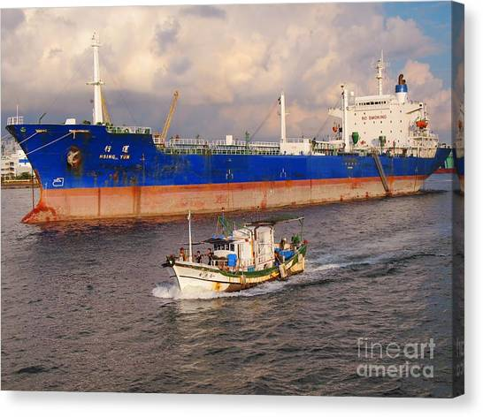 Large Oiltanker And Chinese Fishing Boat Canvas Print