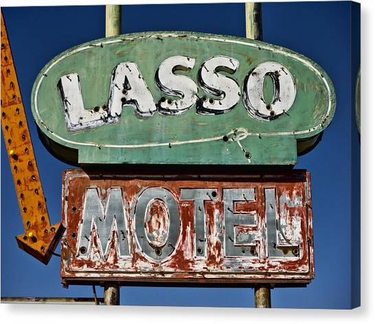 Cowboy Canvas Print - Lasso Motel On Route 66 by Carol Leigh