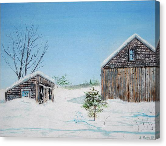 Last Barn In Winter Canvas Print by Anthony Ross