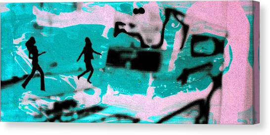Last Minute - Digital Art Neon Colors Canvas Print by Arte Venezia
