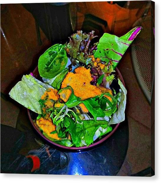 Salad Canvas Print - Last Night I Had Dinner Last Night With by Harvey Christian