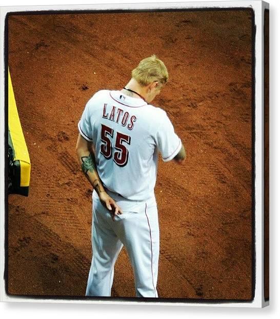 Baseball Teams Canvas Print - Latos Pregame by Reds Pics