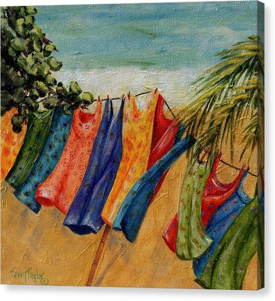 Laundry Day At The Beach Canvas Print