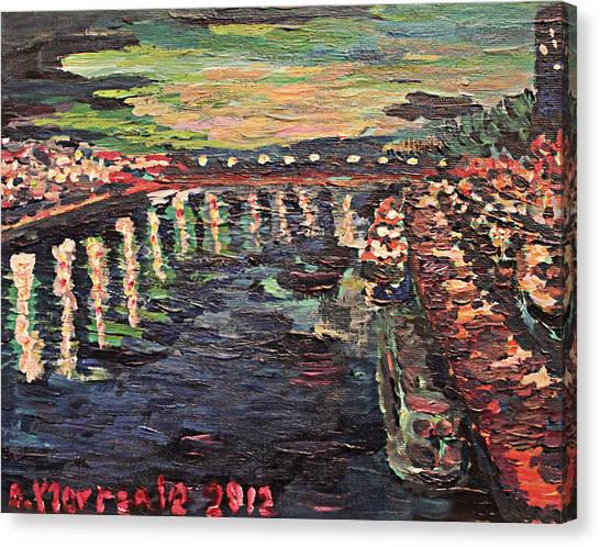 Le Seine De Nuit Canvas Print