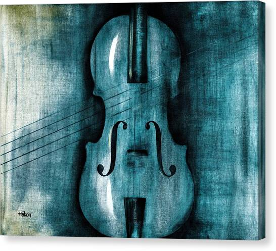 Violin Canvas Print - Le Violon Bleu by Hakon Soreide