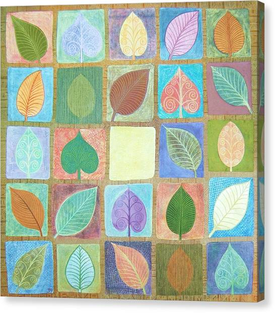 Leafy Squares Canvas Print by Jennifer Baird