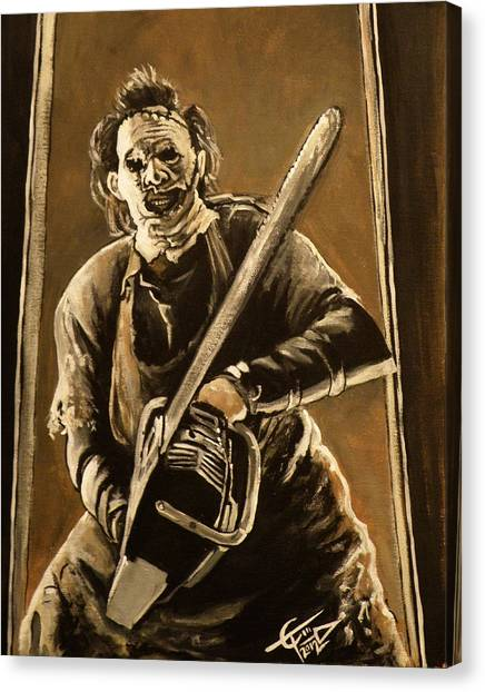 Chainsaw Canvas Print - Leatherface by Tom Carlton