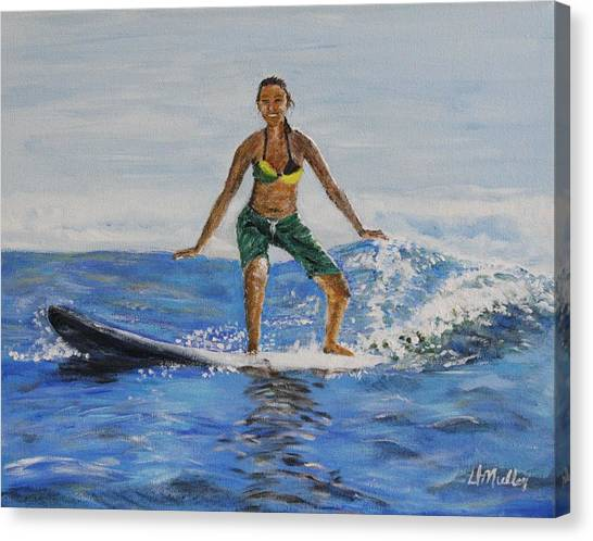 Learning To Surf Canvas Print by Donna Muller