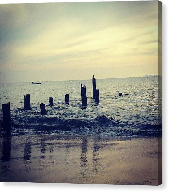 Ocean Sunsets Canvas Print - Leftovers On The Beach.. Once A Pier by Tess Walther