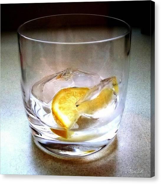 Rum Canvas Print - Lemon & Rocks. #glass #drink #rocks by Jess Gowan