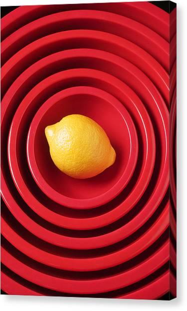 Lemons Canvas Print - Lemon In Red Bowls by Garry Gay