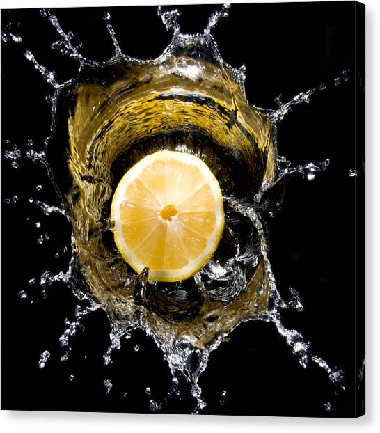 Lemons Canvas Print - Lemon With Water by Cabriphoto.com