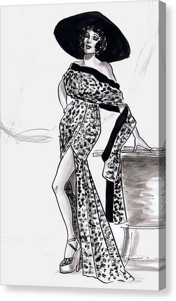 Gloria Swanson Canvas Print - Leopard Beach Outfit by Mel Thompson