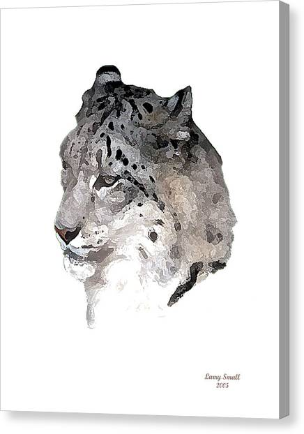 Leapords Canvas Print - leopard Head by Larry Small