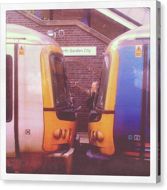 Kiss Canvas Print - #letchworth #station #two Trains by Lewisduncan Duncan