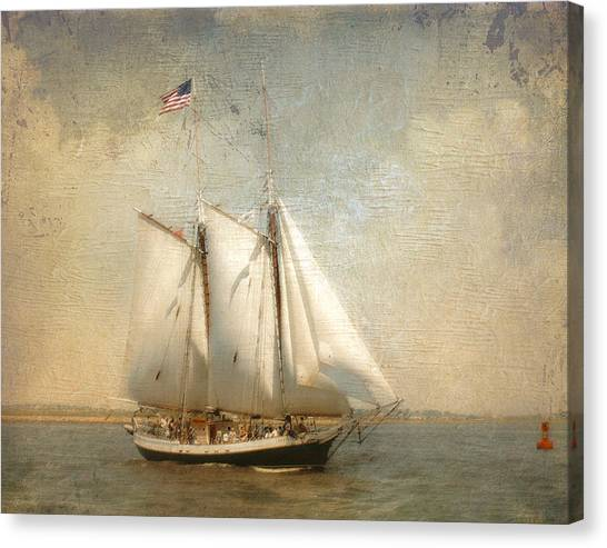 Liberty Clipper On Boston Harbor Canvas Print