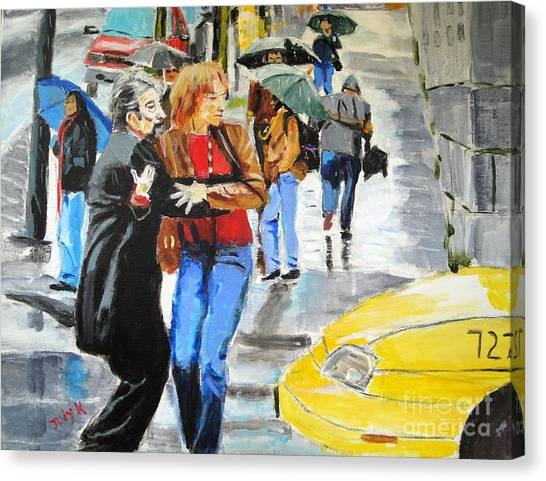 Figurative Canvas Print - Life In The Big City by Judy Kay
