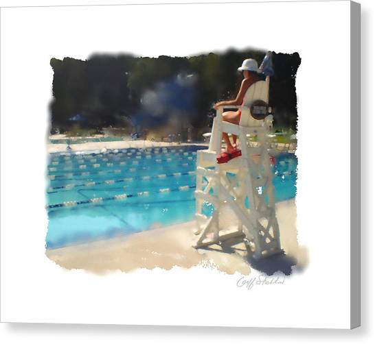 Lifeguard At Tosa Pool Canvas Print by Geoff Strehlow