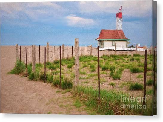 Lifeguard Hut Seen Through Fence Canvas Print