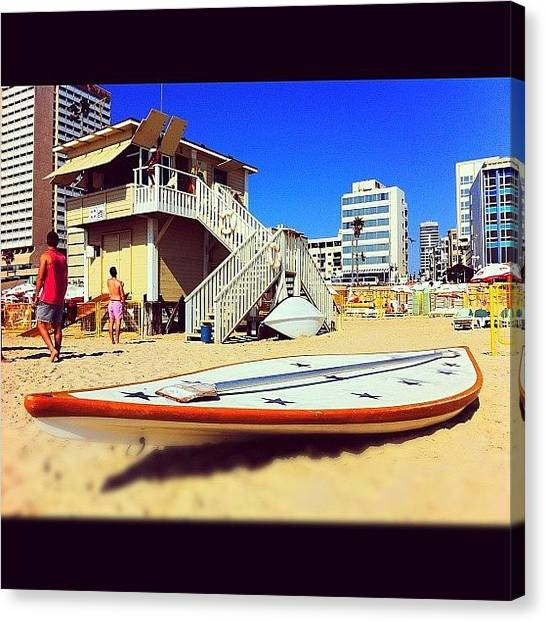 Lifeguard Canvas Print - #lifeguard #paddleboard #beach by Alon Ben Levy