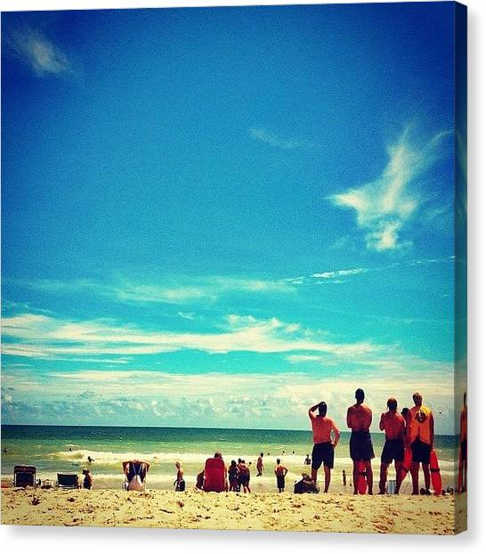 Swimming Canvas Print - Lifeguards See Something In The Water by Katie Williams