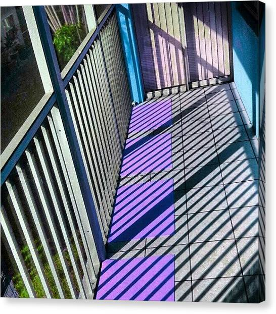 Patio Canvas Print - Light And Shadows / Back Porch At Condo by Elisa Franzetta
