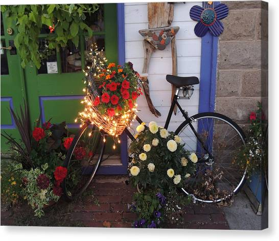 Lighted Bicycle Bayfield Canvas Print by Peg Toliver
