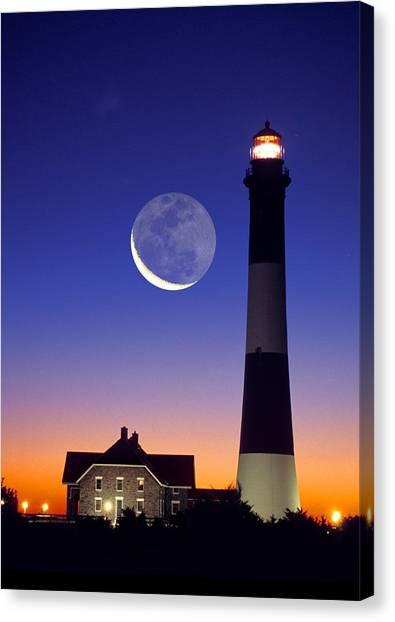 Lighthouse Crescent Moon Canvas Print