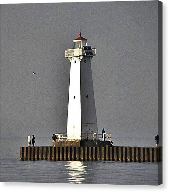Lighthouses Canvas Print - #lighthouse #pier #people #lake #water by Jessie Schafer